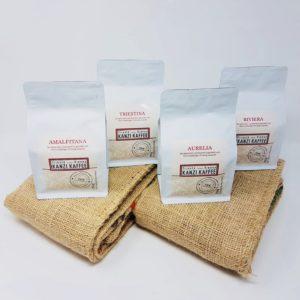 Kanzi Kaffee Probierpaket mit den Sorten Amalfitana, Triestina, Aurelia und Riviera