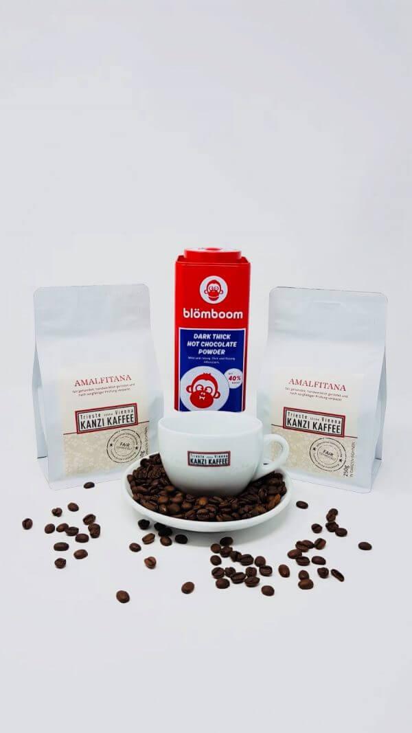 Cappuccino Tasse, blömboom Trinkschokolade und 2 Packungen Amalfitana Kaffee von Kanzi Kaffee
