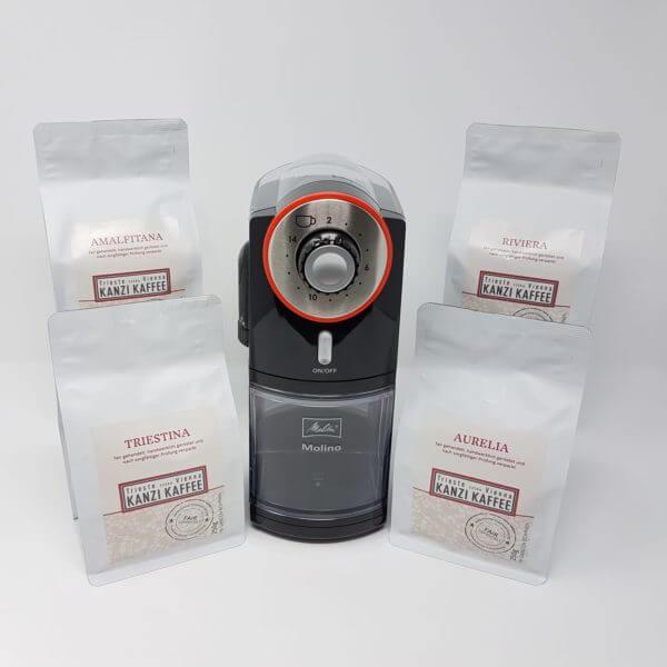 Melitta Molino elektrische Kaffeemühle und vier Sorten Kanzi Kaffee, Amalfitana, Triestina, Aurelia und Riviera