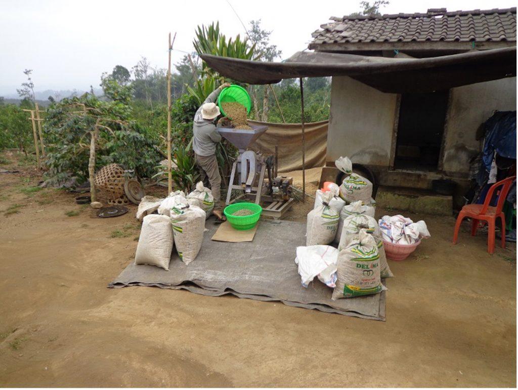Abfüllung des Kaffees auf Bali